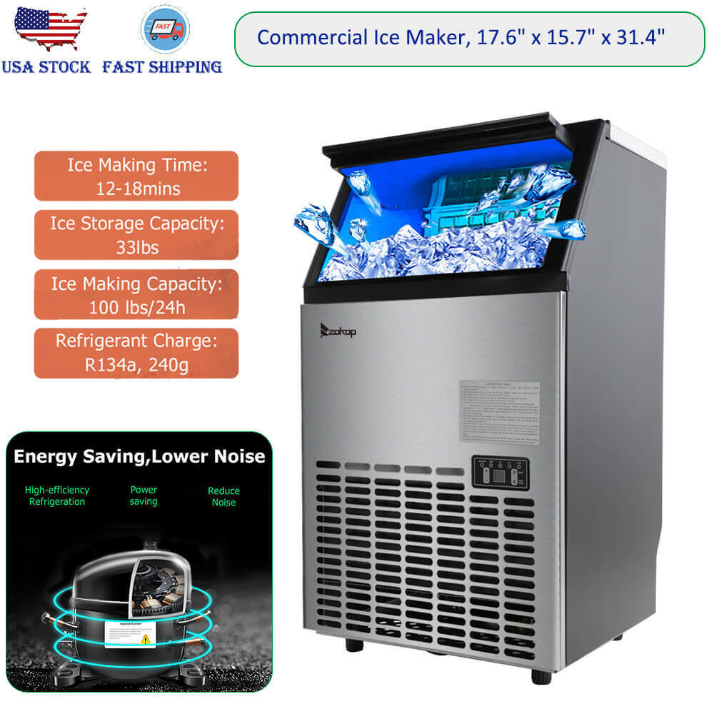 stainless steel commercial ice maker built in