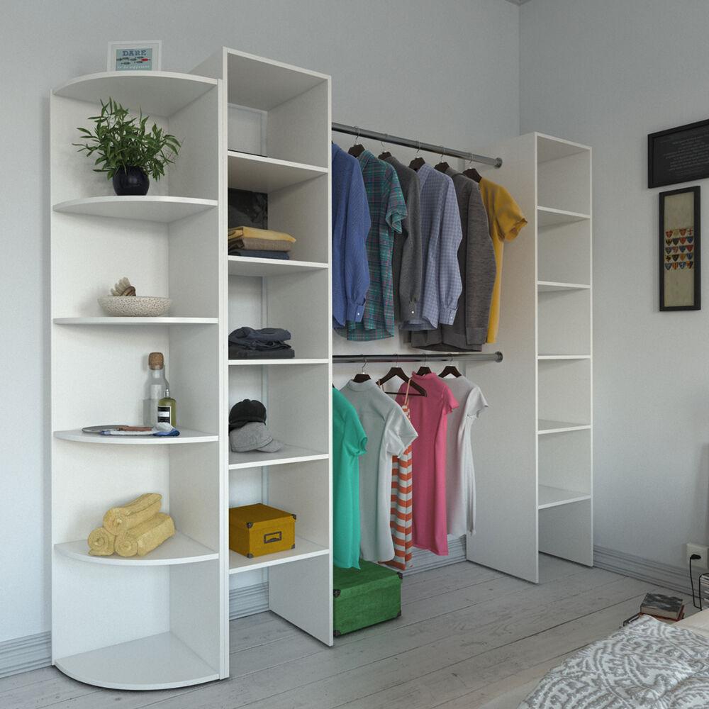 vicco kleiderschrank offen begehbar regal kleiderst nder schrank wei garderobe ebay. Black Bedroom Furniture Sets. Home Design Ideas