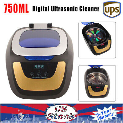 750ml Digital Ultrasonic Cleaner Washing Machine For Glasses Jewelry Dentures Us