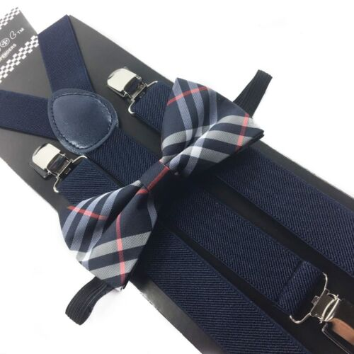Navy Blue  Suspender + Clip On Bow-tie Matching Set For Adults Men Women