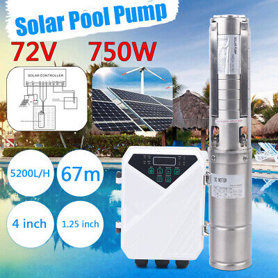 4 Dc Deep Well Solar Water Pump 72v 750w Submersible Mppt Controller 5200lh Us