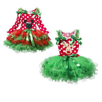 Reindeer Elk Christmas Tutu Xmas Party Costume Dress for Girls Baby Kid Toddler