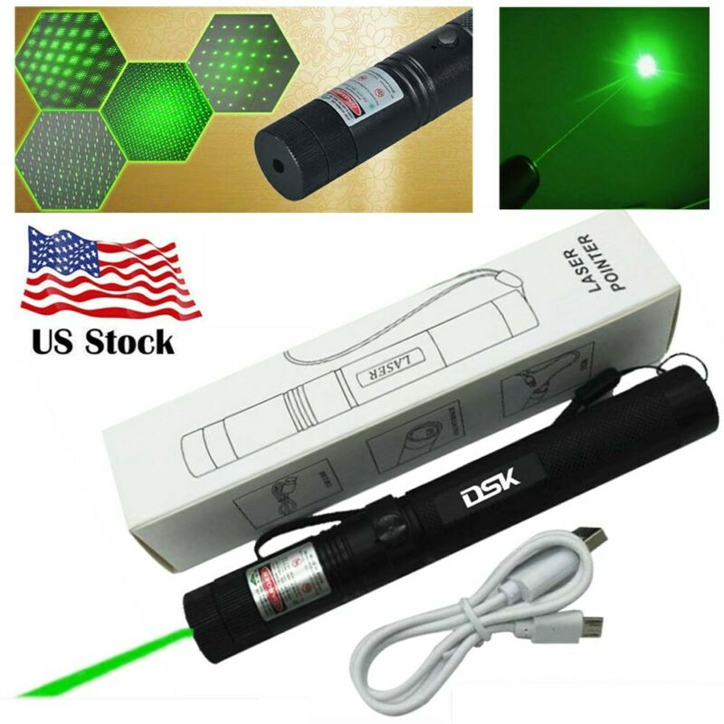 USB 2in1 Green Laser Pointer Pen Rechargeable 532nm Star Beam Visible Light 1mw