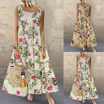 Damen Strandkleid Sommer Partykleid Boho Maxikleider Rundhals Kleid Floral Print Floral Print Maxi-kleid