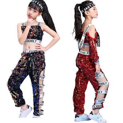 Mädchen Tanzkleidung Outfits Kinder Hip-Hop Tanzen Pailletten Jazzdance - Hip Hop Kostüm Kinder