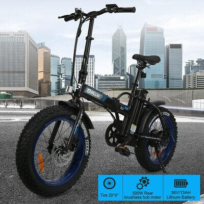 "36V 500W 13Ah LED Display EBike 20"" Folding Fat Tire Electric Bicycle"