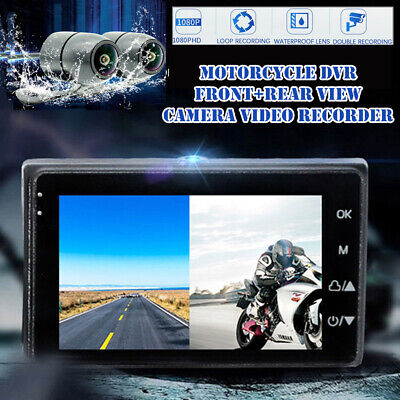 Motorcycle DVR Front+Rear View Camera Video Recorder RGB Display Screen 1080P HD