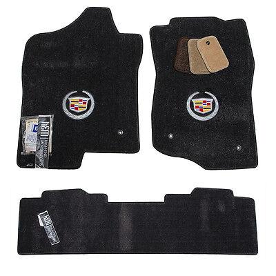 2007 - 2013 Cadillac Escalade EXT Floor Mats - Ebony Black - Silver Crest - USA
