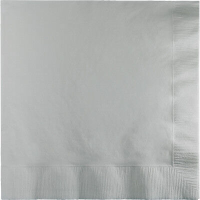 100 SILVER lunch/dinner napkins for wedding or party Large Size Square - Napkins For Party