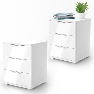 Nachtschrank Kommode Nachttisch Schublade 2er Set Schlafzimmer Weiß Hochglanz