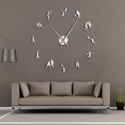 Basketball Game Sport Modern DIY Large Wall Clock Athlete Hoopster Room Décor