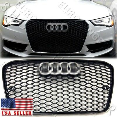 NEW RS5 Style Gloss Black Mesh Grille + CHROME for AUDI 2013 2014 2015 A5 / S5