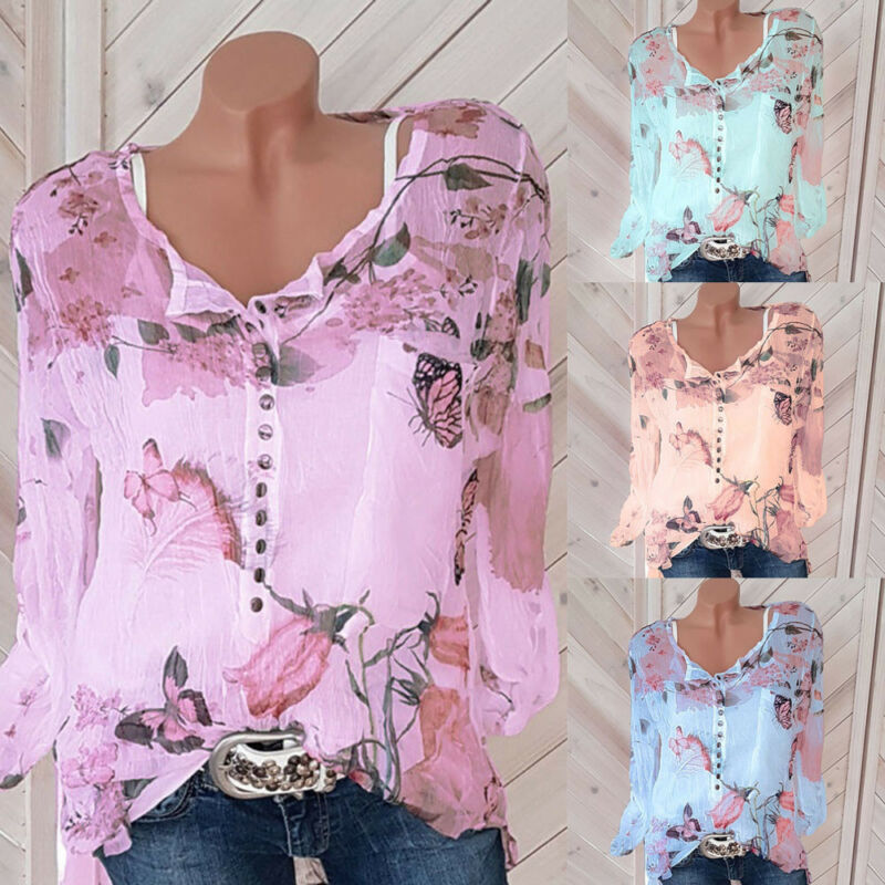 Women Casual Floral Printed Button T-Shirt Chiffon Pleated Fabric Hem Top Blouse