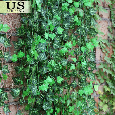 12pcs Artificial Hanging Plant Leaf Fake Foliage Ivy Vine Garland Leaves Wreath