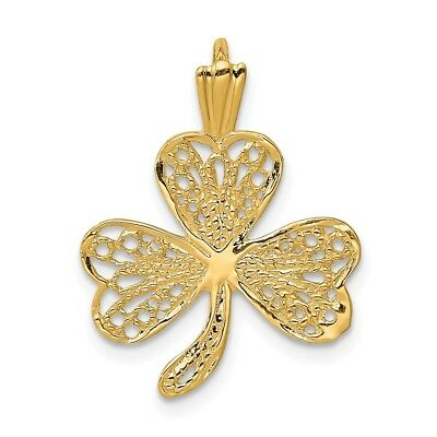 14K Yellow Gold Lucky Filigree Shamrock Clover Charm Pendant 0.87 Inch ()