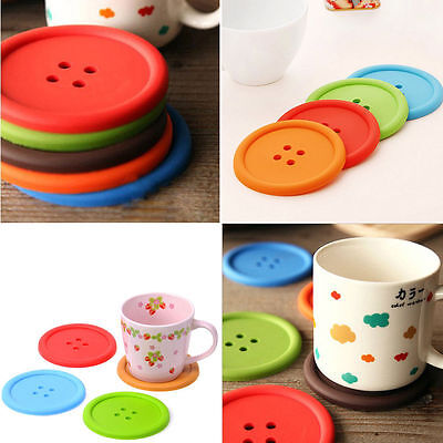 5Pcs Cute Button Coasters Silicone Placemat Cushion Mug Holder Tea Cup Pad Mat