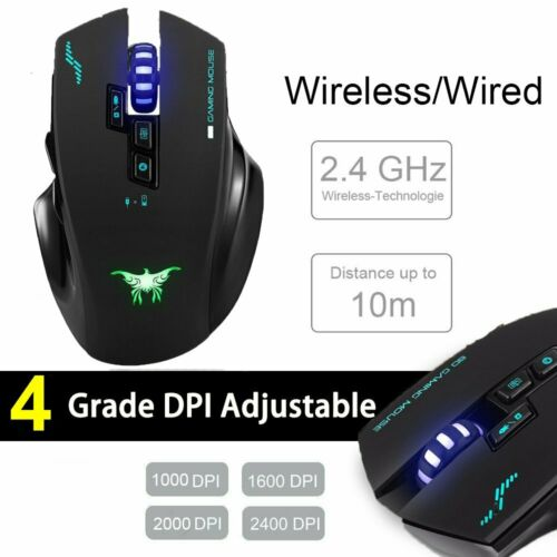 2400 DPI 2.4G Wireless Gaming Mouse 7-Button LED Backlight Adjustable DPI for PC
