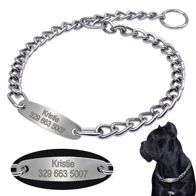 Heavy Duty Dog Choke Chain Collar with Personalized Tag for Medium Large Dogs  - Heavy Duty Choke Chain