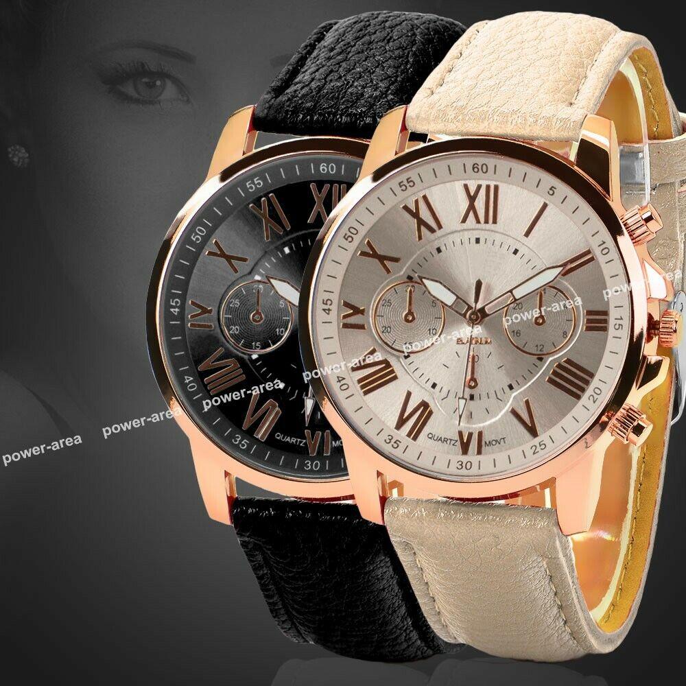 Damen Armbanduhr - Quarz Analog Damenuhr - Leder Armband Schwarz - Mode Uhr NEU