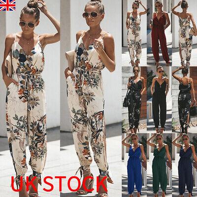 UK Womens Floral Playsuit Ladies Summer Beach Long Jumpsuit Trousers Size 6 - 20