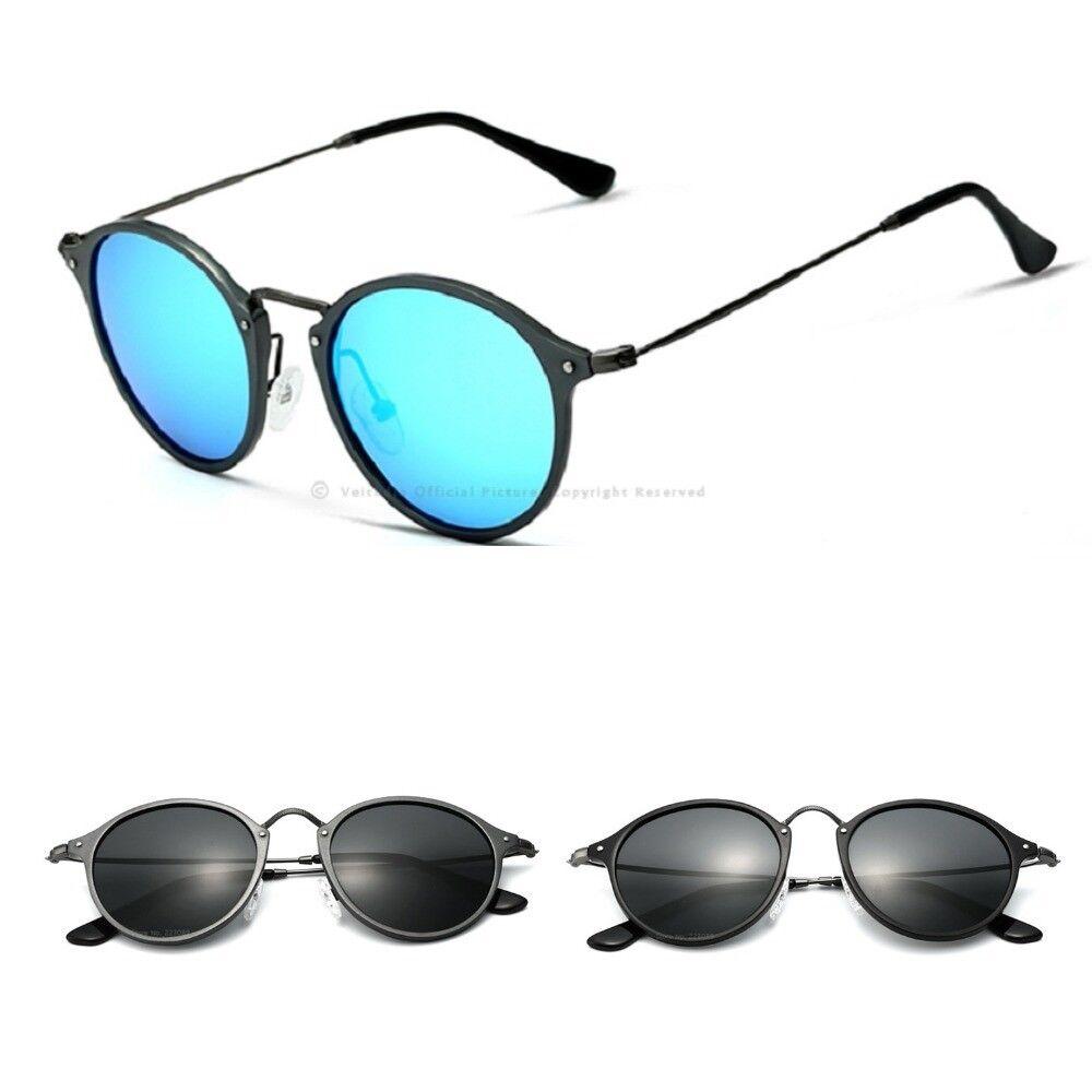 Round Polarized Sunglasses Coating Mirrored for Men Women Ey