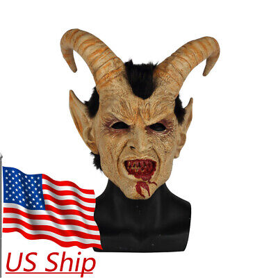 Halloween Devil Mask (Halloween Scary mask demon devil Lucifer Horn latex Masks Party Horrible)