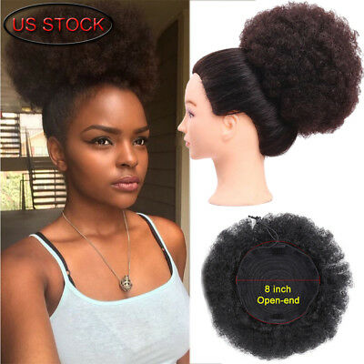 (Afro Ponytail Puff Drawstring Wrap Synthetic Short Curly Hair Bun Updo Chignon )