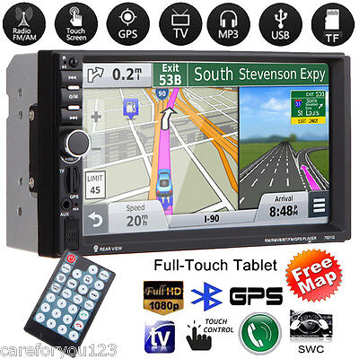 "GPS Navi 7"" Double 2 DIN HD Car Stereo MP5 Player FM USB TF Bluetooth Radio +Map"