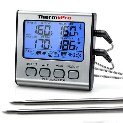 ThermoPro Meat Thermometer Dual Probe Digital Cooking Grill Thermometer w/Timer