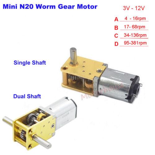 DC 6V 9V 12V Slow Speed Large Torque Mini N20 Worm Gear Motor Full Metal Gearbox