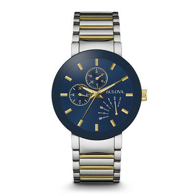Bulova Mens Silver & Gold Finish Stainless Steel Watch, Water Resistant - 98C123