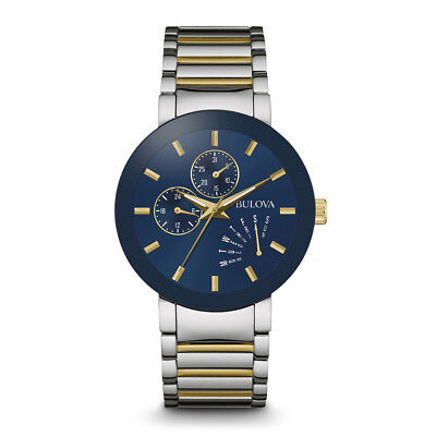 BULOVA Mens Silver & Gold Finish Stainless Steel Watch, W...
