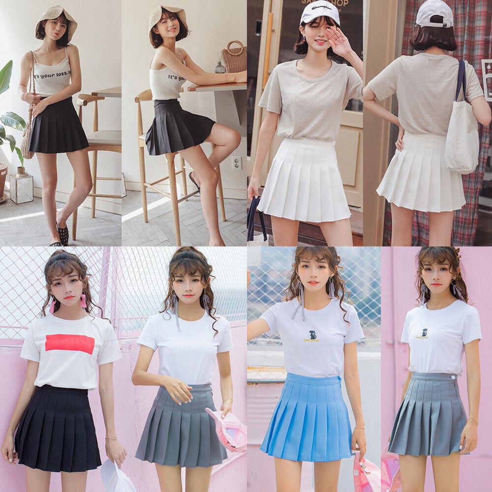 Women Knitting Pleated Dress Party High Waist Skirt Short A-Line Mini Skirt New
