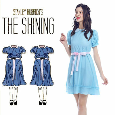 Halloween Costume The Shining Lisa & Louise Burns Grady Twins Blue Lolita Dress