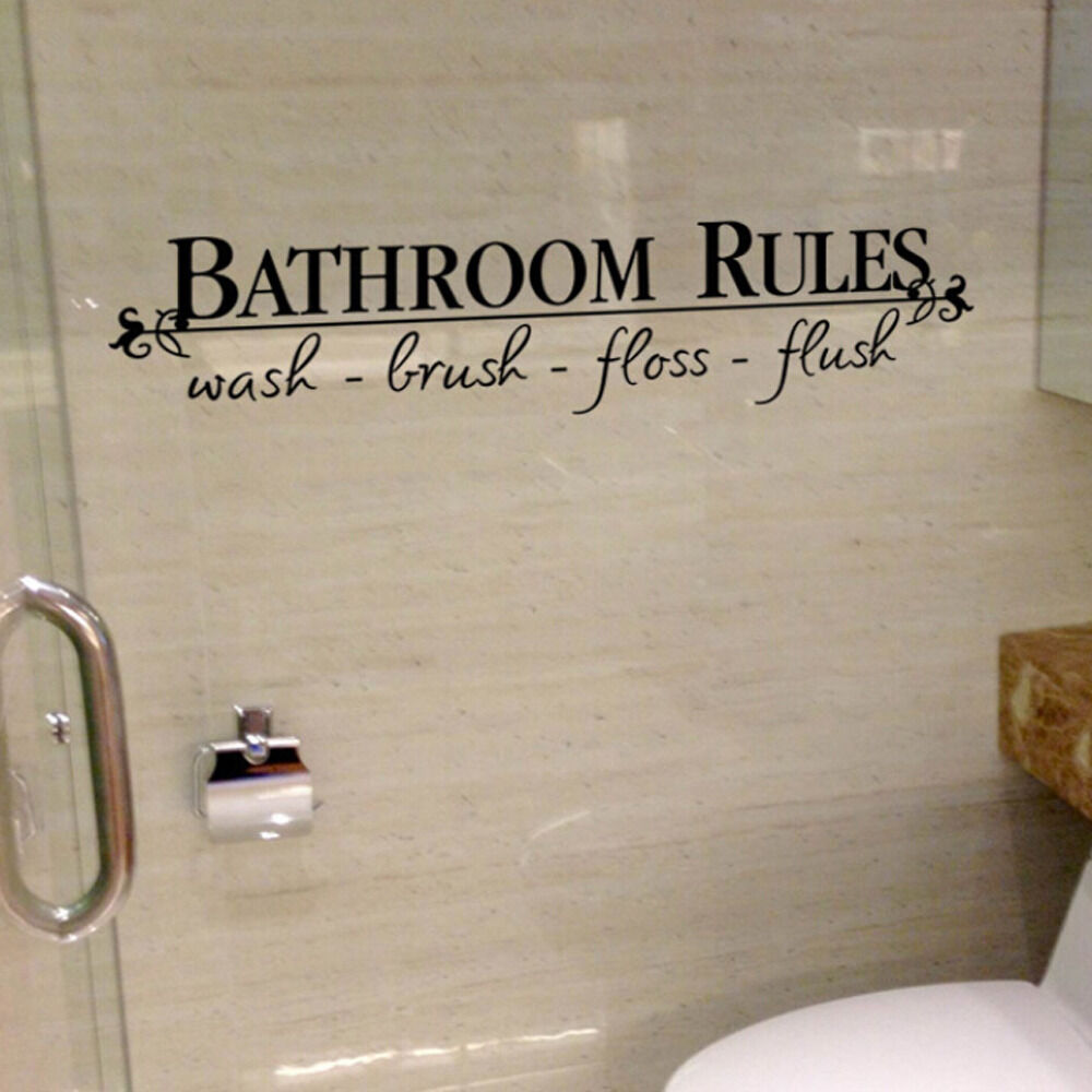 BATHROOM RULES Home Decor Wall Stickers Decals Quote