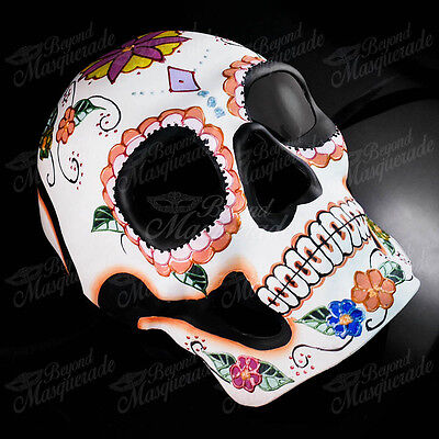 Day Of Dead Halloween Mask (Mens Day of the Dead Full Face Skull White with Flower Halloween Masquerade)