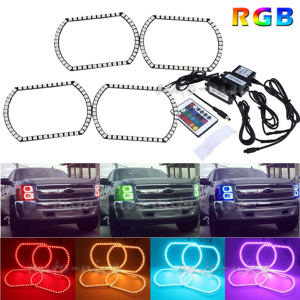 RGB Multi-Color LED Headlight Angel Eye Halo Rings Kit For 07-14 Chevy Silverado