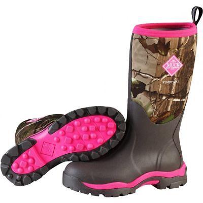 MUCK BOOTS Women's Woody Pink Camo Rubber Waterproof Hunting Boot WWPK-RAPG 6