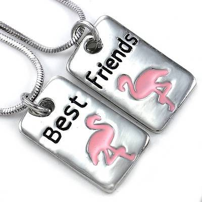 Pink Flamingo Bird Best Friend Forever BFF Necklace Pendant Animal Lover Dog (Animated Best Friends Forever)