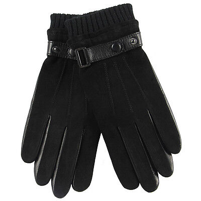 Mens Genuine Sheepskin Suede Leather Lined Warm Gloves On Sale - Mens Suede Leather Glove