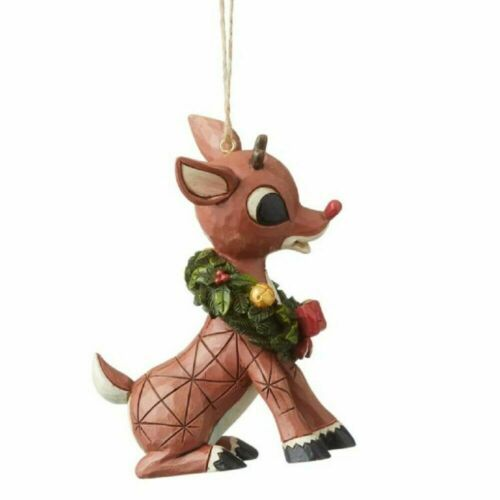 Jim Shore Red Nosed Reindeer RUDOLPH WITH WREATH AROUND NECK ORNAMENT 6004151