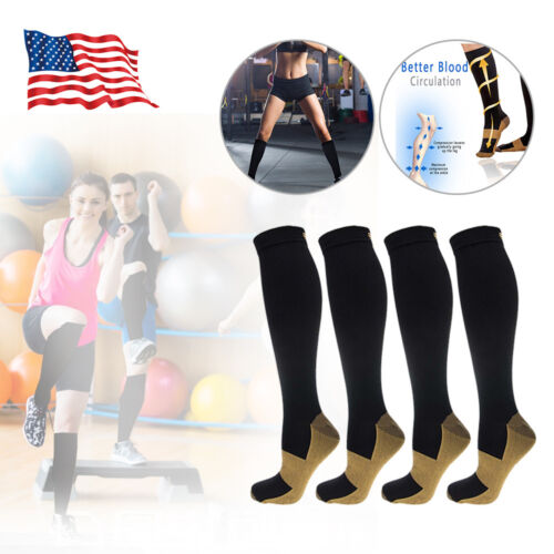 2 Pairs Copper Compression Socks Support Stockings 20-30 mmH