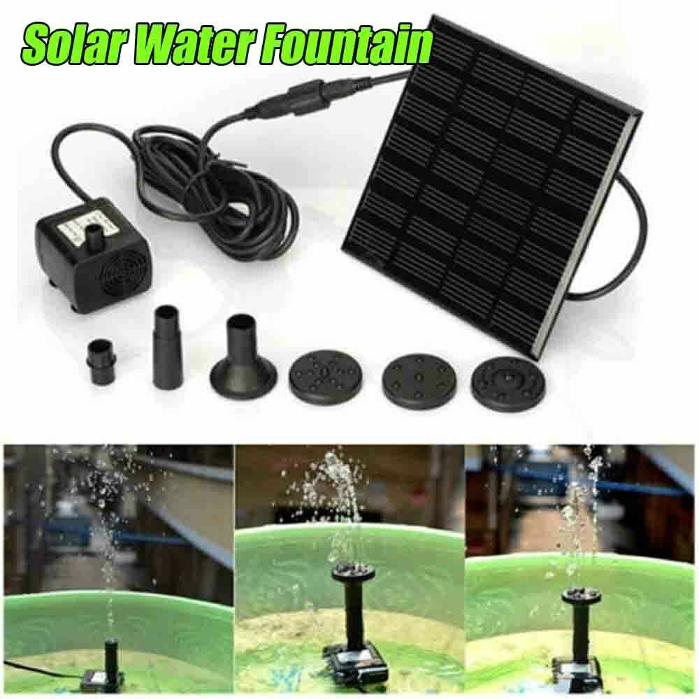 Solar Water Fountain Pumping  Kit Outdoor Decor Round Panel