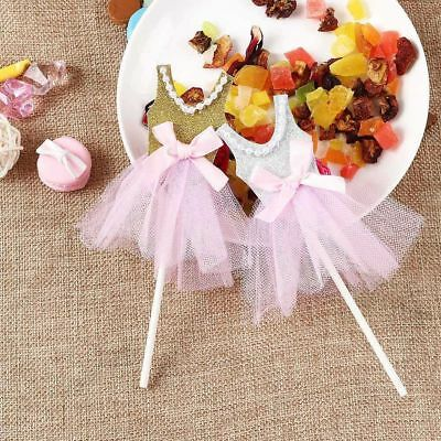 5PCS Shower Birthday Food Sticks Princess Skirt Cupcake Toppers Cake Decor](Cake Decorating Sticks)