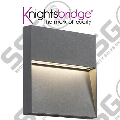 Knightsbridge 230V IP44 4W LED Square Wall / Guide light - Grey Outdoor Garden
