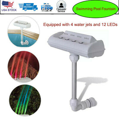 Above Ground Rainbow Cascade Waterfall Swimming Pool Fountain w/ LED Lights Jets