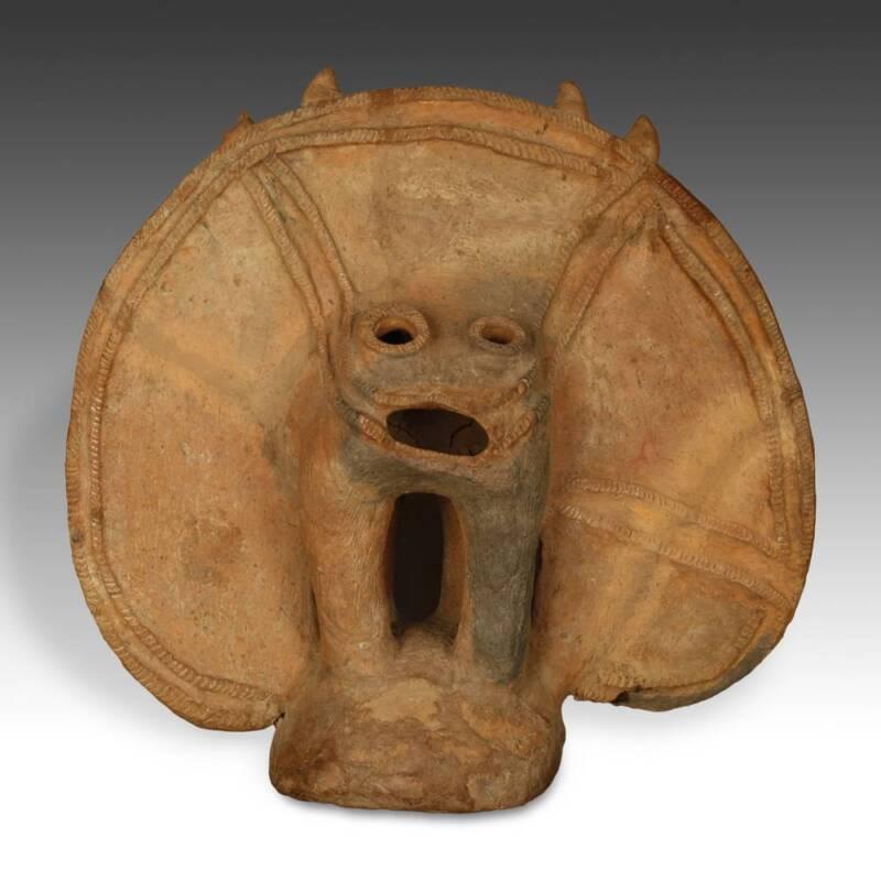 Antique Funerary Marker Dakakari Terracotta N. Nigeria West Africa Late 19th C.