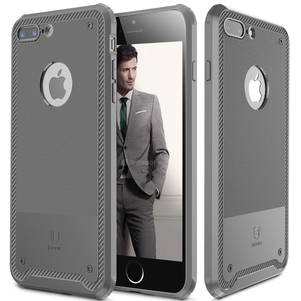 For Apple iPhone 8 7 Plus Slim Carbon Fiber Texture Soft TPU Rubber Case Cover