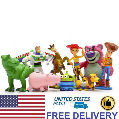 Toy Story 3 Buzz Lighter Woody Jessie Dinosaur Lotso Action Figures Toys 9 PCS