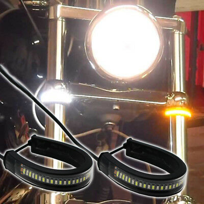 2Pcs Switchback W A Led Fork Turn Signal Daytime Fit Motorcycle Drl Light Strips